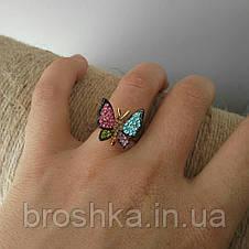 Кольцо бабочка ювелирная бижутерия с разноцветными камнями 16й размер, фото 3