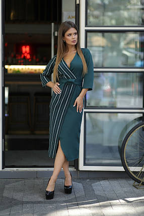 """Комбинированное миди-платье на запах """"ВЕРТИКАЛЬ"""" с четвертным рукавом (3 цвета), фото 2"""