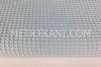 Ткань вафельная серо-голубого цвета № ТФ-014