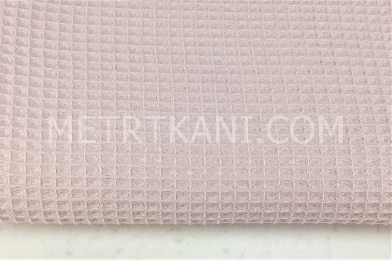 Ткань вафельная грязно-розового цвета № ТФ-013
