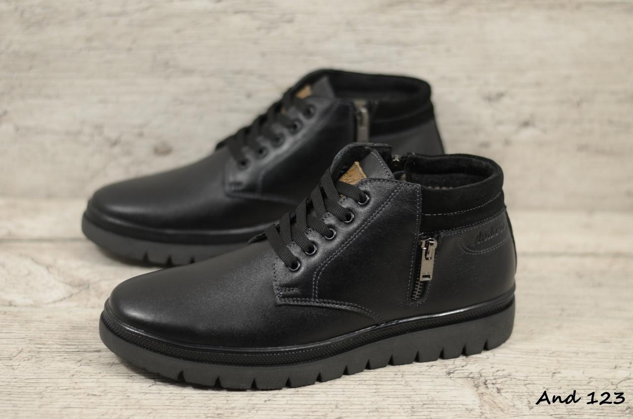 Мужские кожаные зимние ботинки And  (Реплика) (Код: And 123  ) ►Размеры [40,41,42,43,44,45]