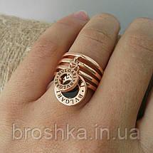 Кольца Bvlgari бижутерия в розовой позолоте с подвесками, фото 2