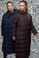 Эксклюзивное теплое пальто-пуховик, большие размеры, фото 1