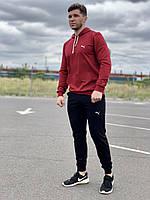 Мужской спортивный костюм Puma (пума) - Бордовая кофта и черные штаны  / Весна-осень