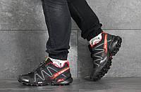 Кроссовки Salomon мужские, черный/красный, в стиле Саломон, плотная сетка, нубук, код SD-8379