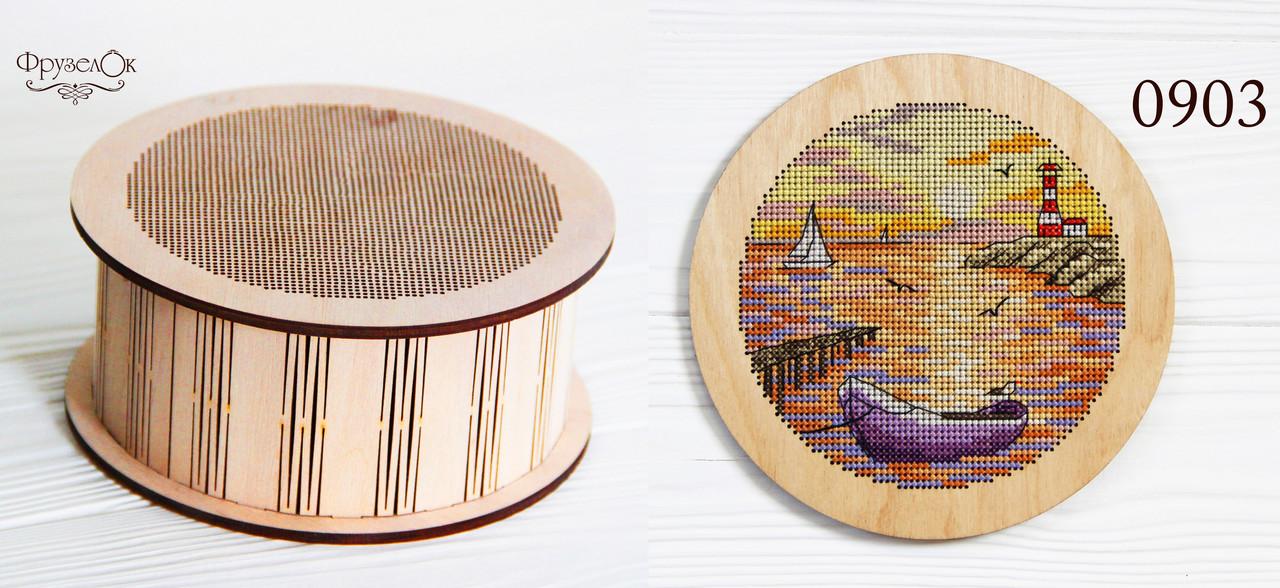 """Набір для вишивання хрестиком на дерев'яній основі """"Човен"""""""