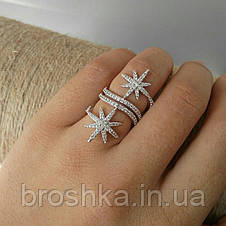 Широкое кольцо звезды метеориты ювелирная бижутерия, фото 3