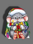 Упаковка праздничная новогодняя из картона Мышонок, до 300г