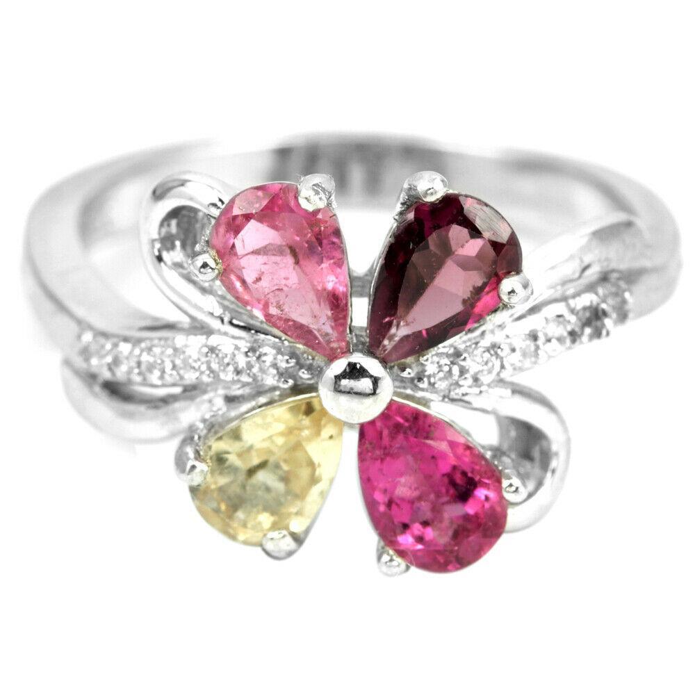 Серебряное кольцо с разноцветным турмалином, 6*4 мм., 2059КЦТ