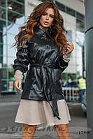Стильная черная кожаная куртка-пиджак
