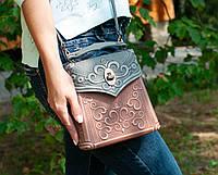 Кожаный мини рюкзак ручной работы, сумочка-рюкзак с авторским тиснением, фото 1