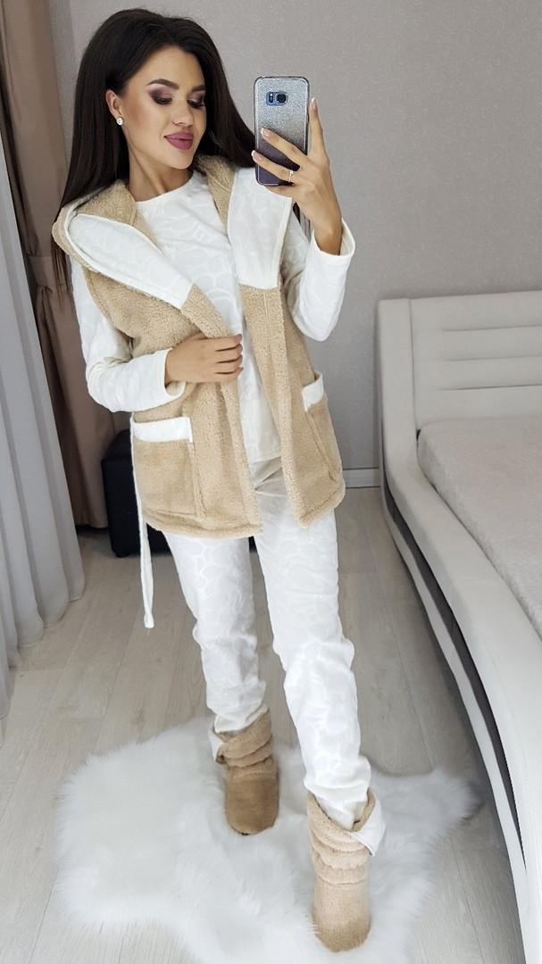 Домашний женский уютный набор пижама+жилет+сапожки 50-52,52-54