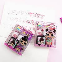 Штампик детский набор 3 штуки, ручка держатель, штемпельная подушка Кукла ЛОЛ (LOL)