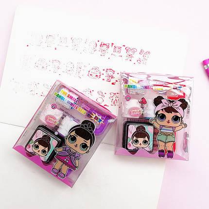 Штампик детский набор 3 штуки, ручка держатель, штемпельная подушка Кукла ЛОЛ (LOL), фото 2