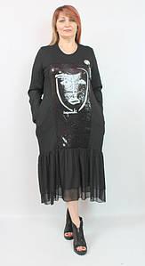 Турецкое женское платье в пайетках, размеры 52-62