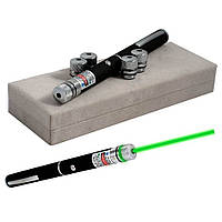 Лазерная указка Green Laser Pointer + 5 насадок Черный G101001166, КОД: 722425
