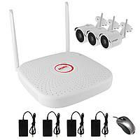 Комплект беспроводного WiFi видеонаблюдения на 3 камеры 1 Мп на 300 метров LONGSE WIFI2004PG1S100, КОД: 146792