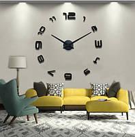 Большие настенные часы с 3Д эффектом 4208 Black