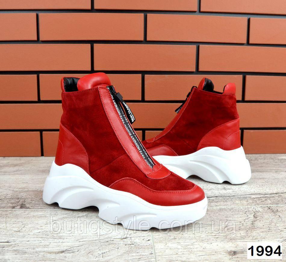 Женские красные ботинки натуральная кожа+замша на платформе Деми