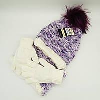 Шапка снуд перчатки Suve для 7-12 лет Фиолетовый TUR 51231 purple, КОД: 152782