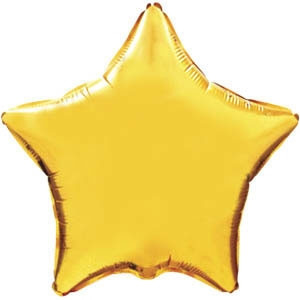 Фольгированный шар Ультра Звезда 18см х 45см Золотой