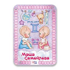 Метрика постер для новорожденных А4 формат Близнецы FTMKA4BLI, КОД: 182649