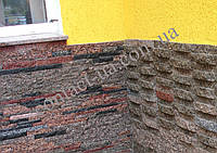 Облицовка углов дома натуральным камнем лапшой