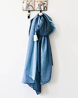 Модный женский двухцветный шарф синего оттенка
