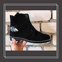 Женские демисезонные ботинки натуральная замша черный, фото 1