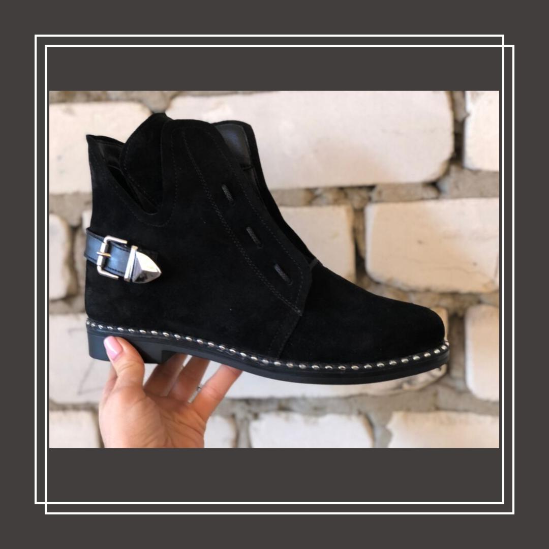 Женские демисезонные ботинки натуральная замша черный