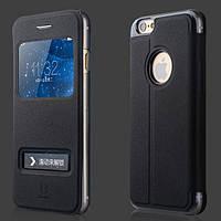 "Чехол книжка Baseus Smart Cover для iPhone 6 (4,7"") Black натуральная кожа, фото 1"