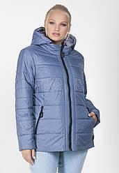 Куртка демисезоння жіноча великого розміру на силіконі плащівка (батальна), синя
