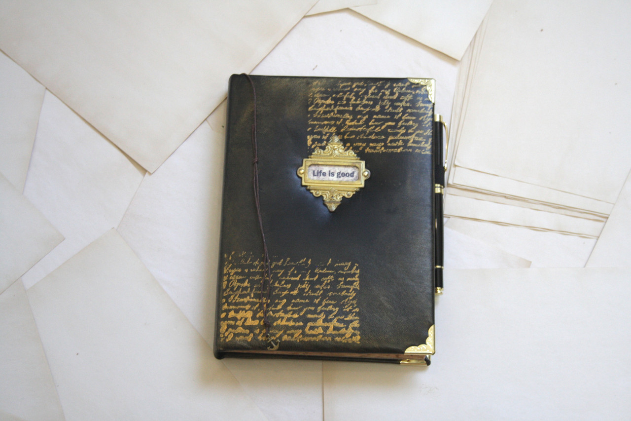 Винтажный кожаный блокнот записная книга мужчине с состаренными страницами