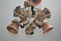 Люстра подвес из натурального дерева с керамическими плафонами. LL-S3 КГ