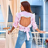 Жіноча блузка з відкритою спиною рожева, фото 1