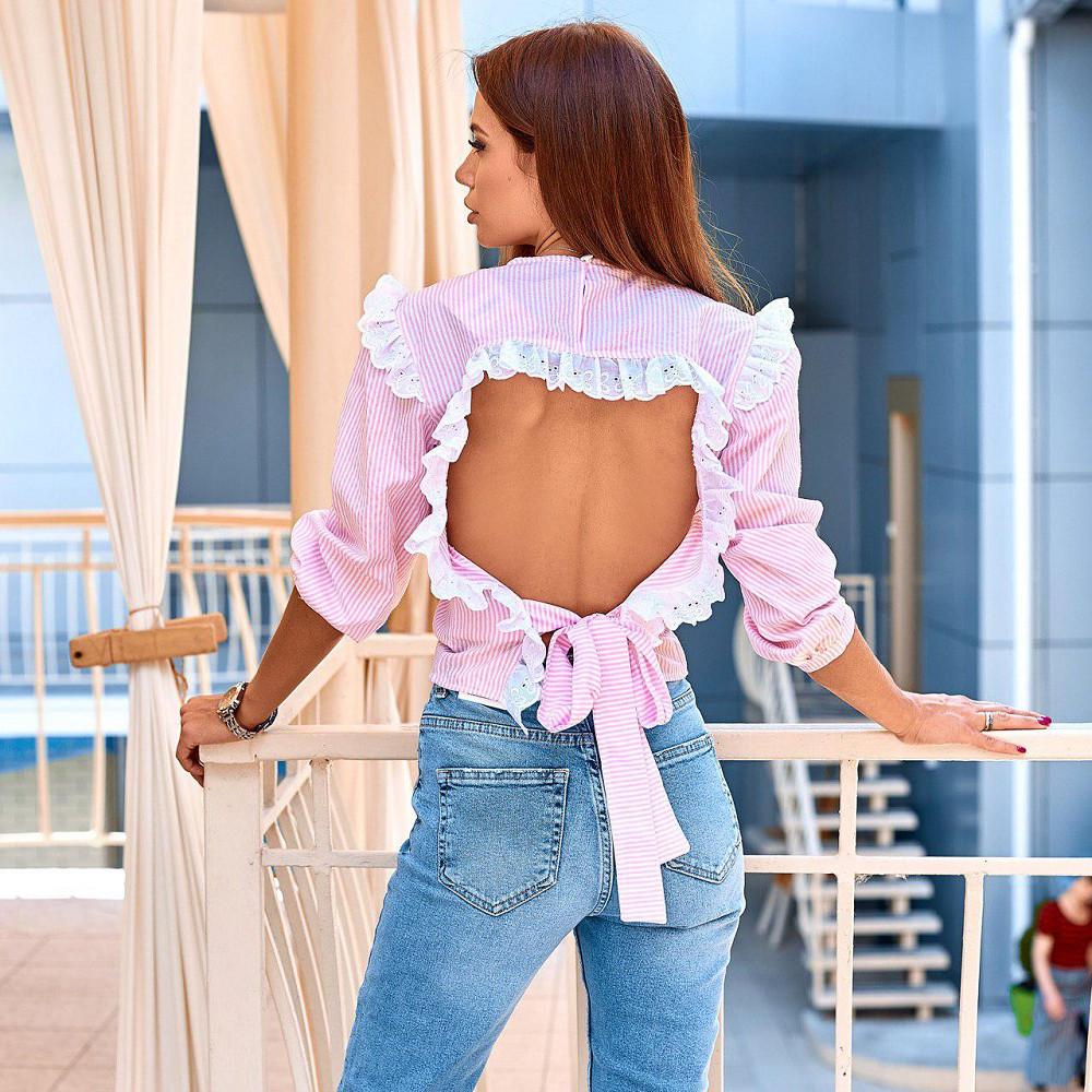 Жіноча блузка з відкритою спиною рожева