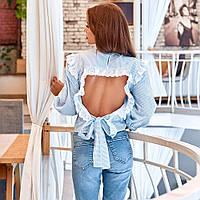 Женская блузка с открытой спиной голубая, фото 1