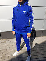 Демисезонный мужской спортивный костюм с капюшоном Adidas цвет электрик (реплика)
