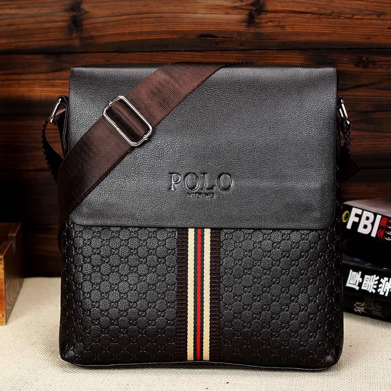 Кожаная сумка Polo Videng через плечо с полоской