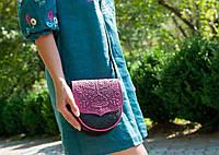 Кожаная женская сумка, сумка через плечо, мини сумочка, фиолетово-чёрная, фото 1