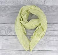 Итальянский шарф Girandola 0001-85 салатовый в полоску, коттон 80%, шелк 20%