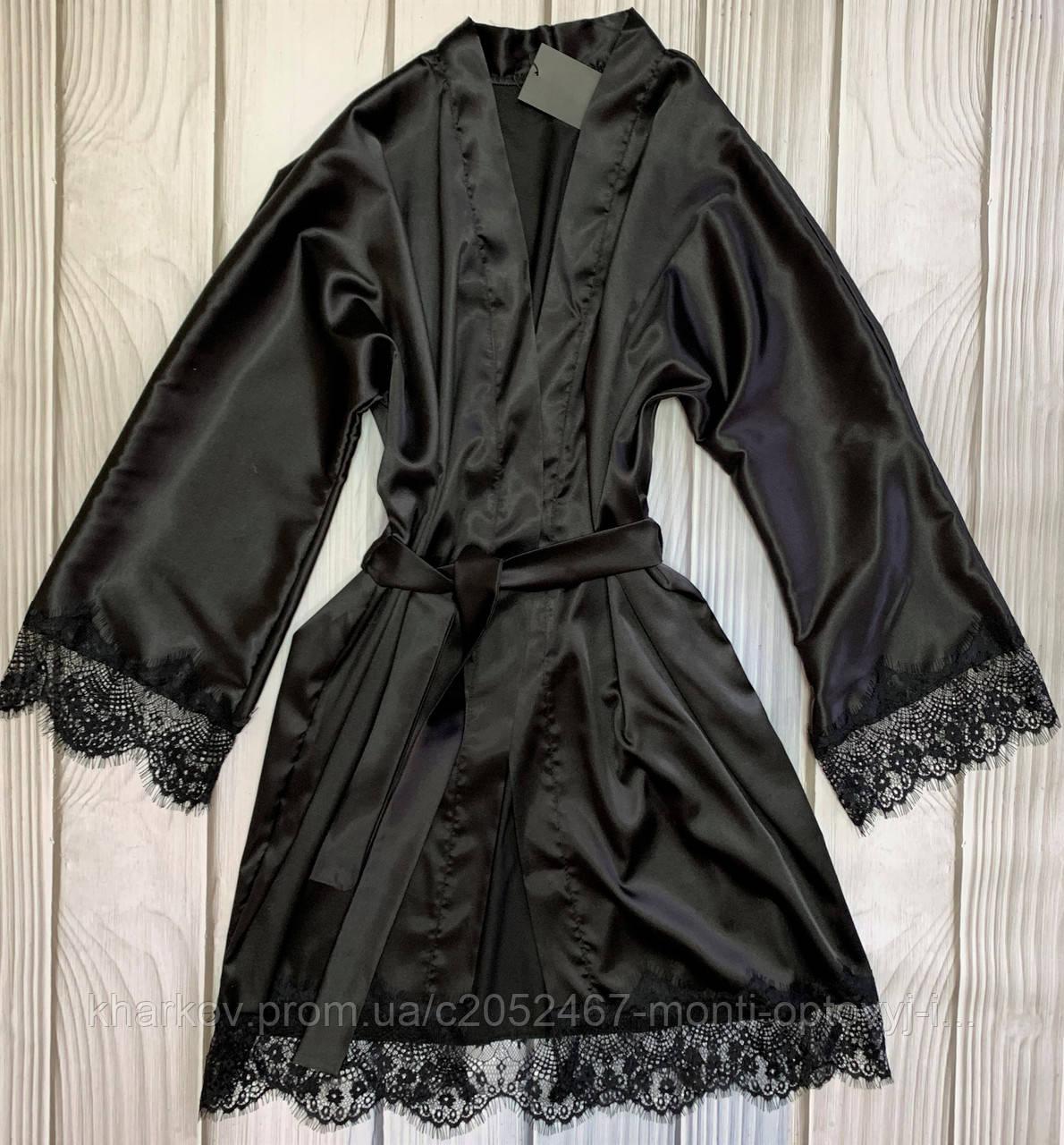 Изысканный атласный женский халат с французским кружевом