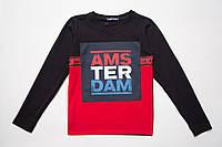 Реглан для мальчика р.122,128,134,140,146,152,158 SmileTime Amsterdam, черный с красным
