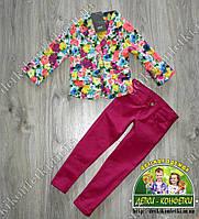 Пиджак для девочки цветочной расцветки