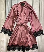 Атласный женский халат в красивом пудровом цвете