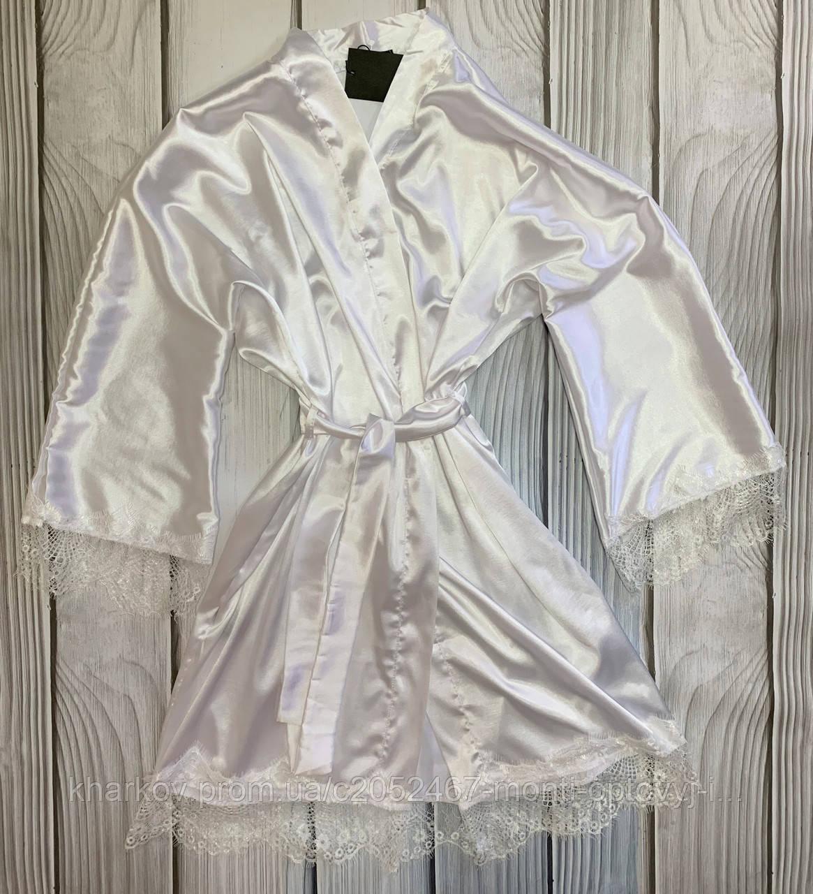 Атласный женский халат на утро невесты