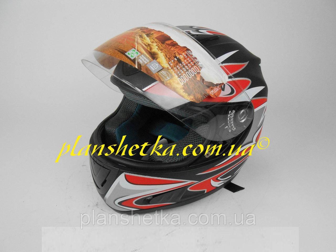 Шлем для мотоцикла Hel-Met 160 черный мат с красным