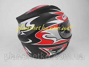 Шолом для мотоцикла Hel-Met 160 чорний мат з червоним, фото 2