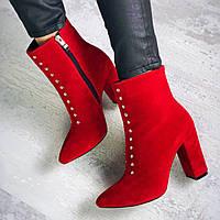 Шикарные замшевые ботинки на каблуке 36-40 р красный, фото 1