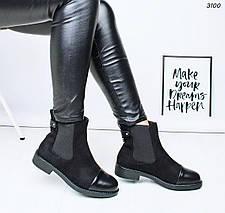 Ботинки женские побокам резинки низкий каблук 3100, фото 3